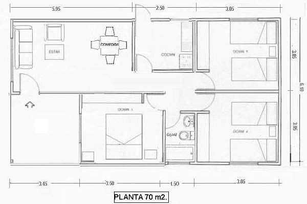 Plano de casa en madera de 70 m2 con medidas for Planos para viviendas