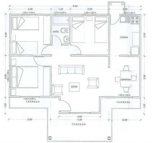 Plano De Casa De Madera Con 65 M2 Con Medidas