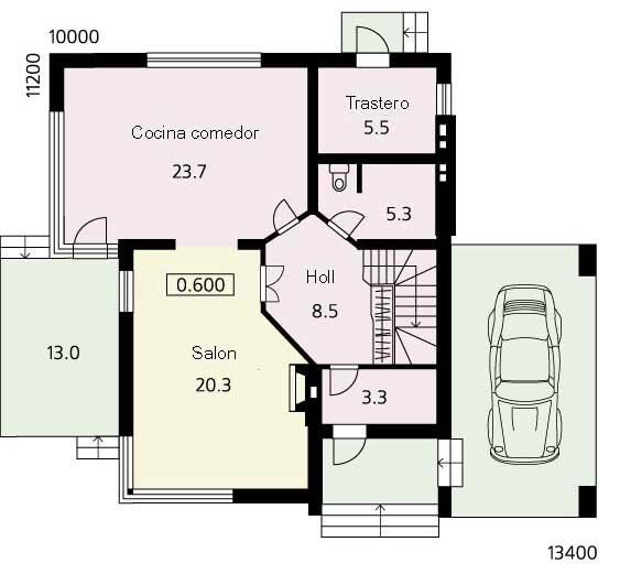 Plano de casa de campo grande y moderna for Plano casa moderna 90m2