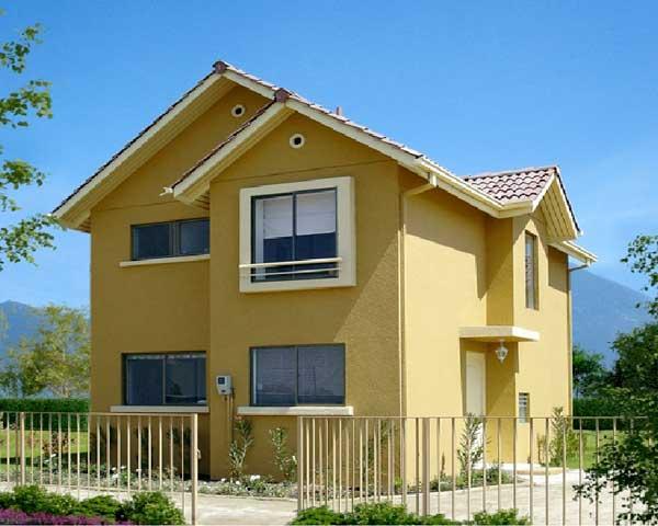 Plano de casa dos pisos con tres dormitorios y tres ba os for Modelos de casas de 2 pisos