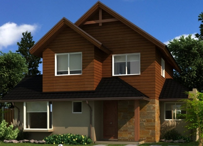 Plano casa dos pisos con 4 dormitorios y tres ba os de 122 m2 for Modelos de fachadas de casas de dos pisos