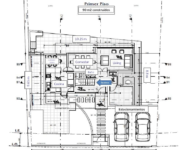 Plano Casa de dos Pisos 140 M2