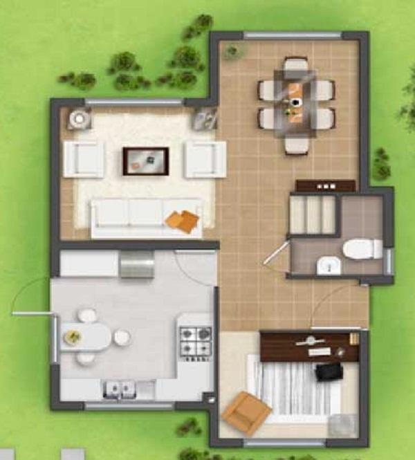 Plano De Casa Grande De 2 Pisos Y 3 Dormitorios De 86 M2