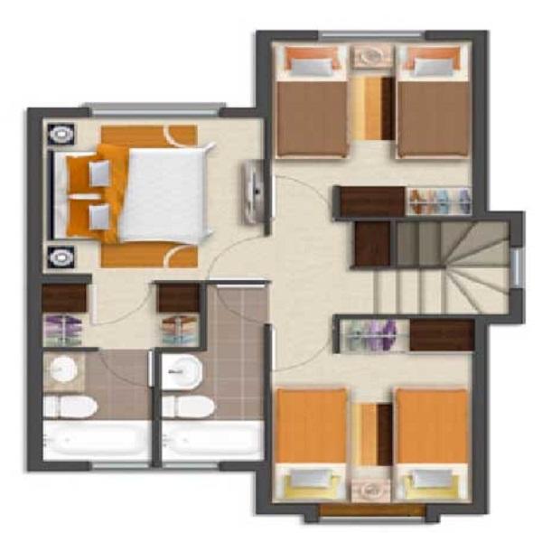 Plano de casa grande de 2 pisos y 3 dormitorios de 86 m2 for Plano casa 2 dormitorios