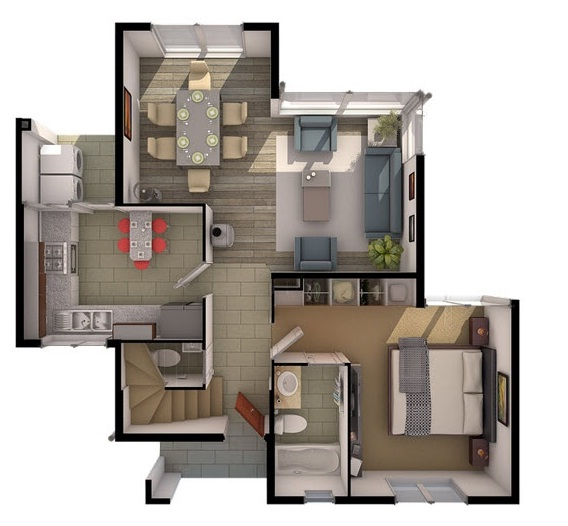 Plano de casa moderna de 2 pisos - Vivir en un segundo piso ...