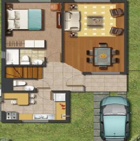 Plano de casa dos pisos con tres dormitorios y tres ba os for Planos de casas 90m2