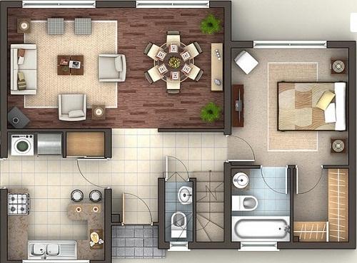 Plano de esplendida casa de 3 pisos de 140 m2 for Planos de cocina y comedor
