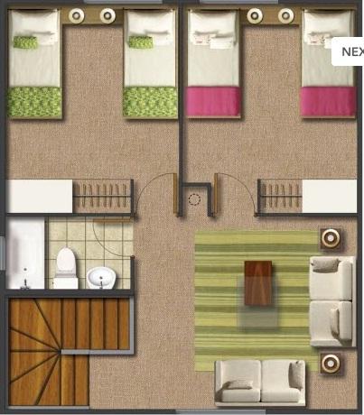 Plano de casa dos pisos con tres dormitorios y tres ba os for Casa moderna 90m2
