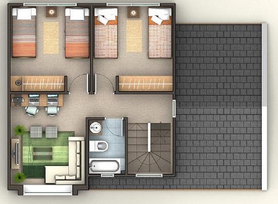 Plano de esplendida casa de 3 pisos de 140 m2 for Sala de estar segundo piso