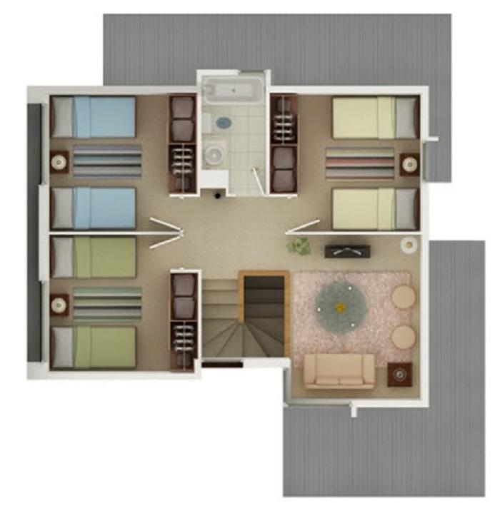 plano de moderna casa de dos pisos de mas de 120 m2