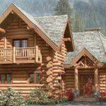 Planos de cabaña con rollizos de madera de 160 m2
