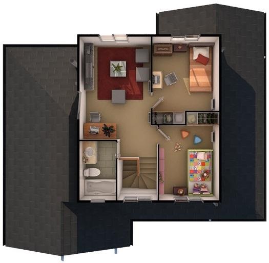 Plano casa dos pisos con 4 dormitorios y tres ba os de 122 m2 for Planos para segundo piso