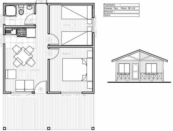 Plano de casa de 36m2 f cil de construir en madera for Diseno de casa de 9 x 12