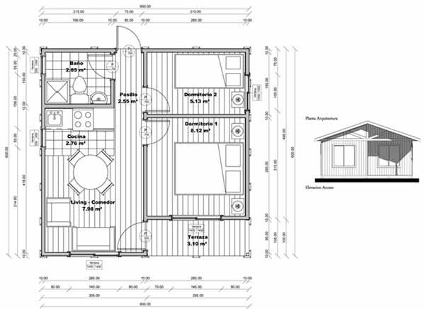 Plano de casa de 36m2 f cil de construir en madera for Casas prefabricadas para terrazas