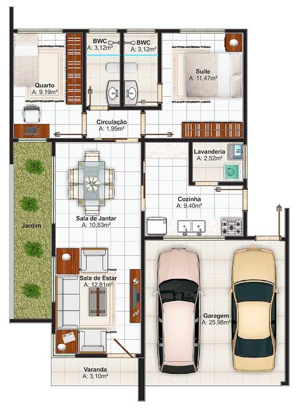 Plano de moderna casa con estilo mediterr neo for Planos de interiores de casas