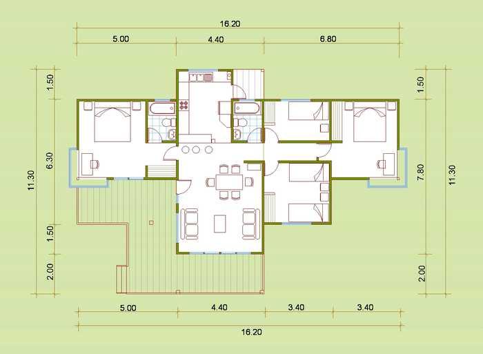 Plano de caba a con 94 m2 for Planos de casas de campo de un piso