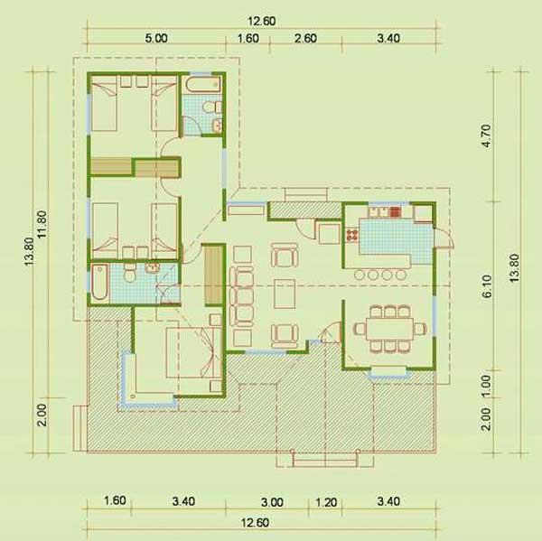 Plano De Casa De Campo Simple Y Grande