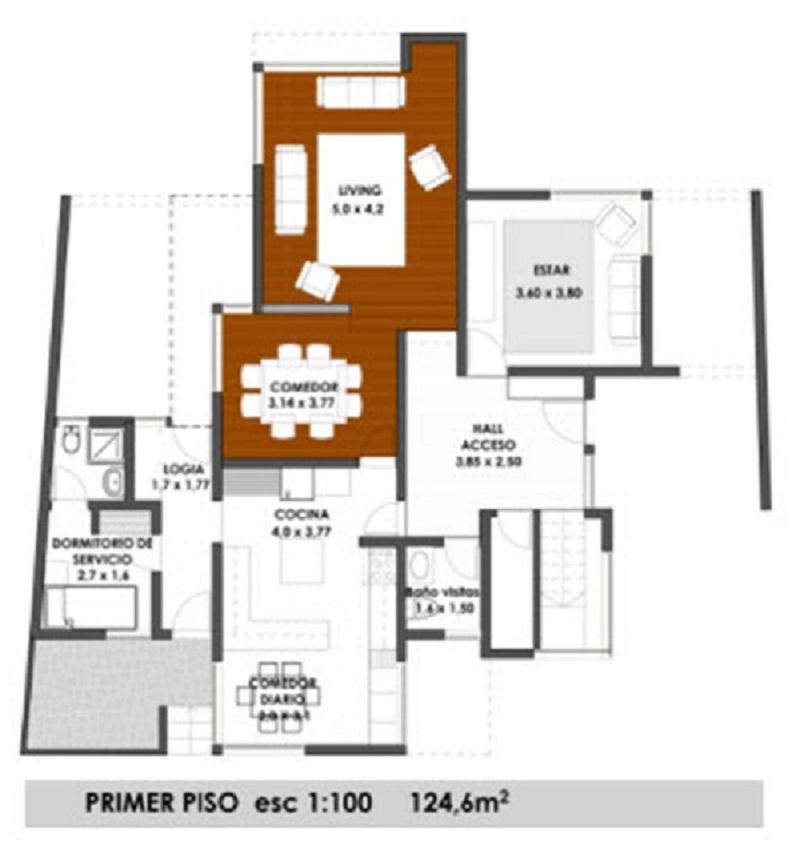 Plano de gran casa de dos pisos de 240 m2 for Planos para segundo piso