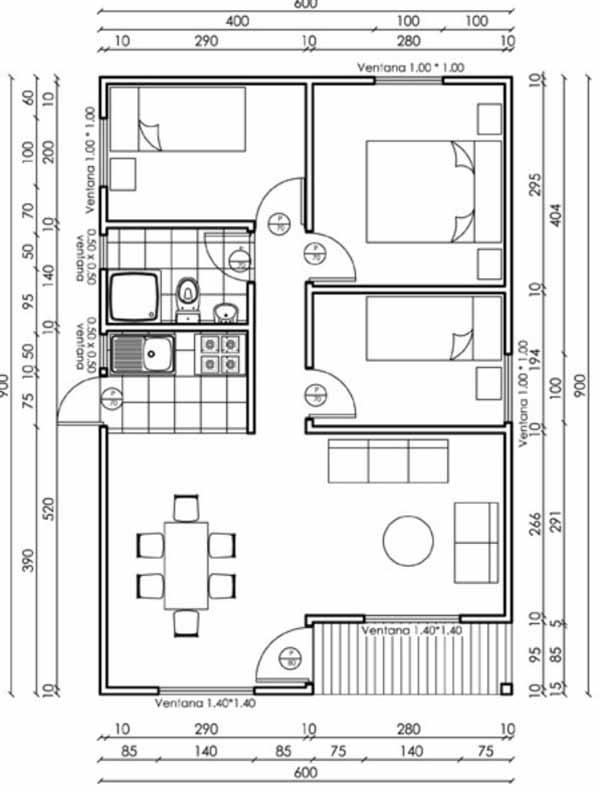 plano de casa de 54 m2
