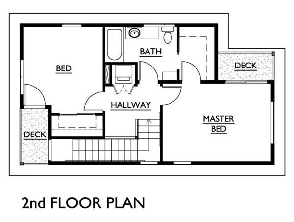 Plano de moderna casa de dos pisos para sitio angosto for Diseno escaleras para segundo piso