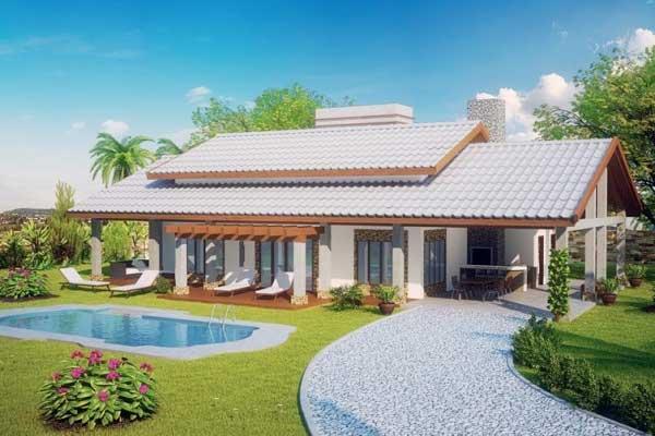 ideias jardins moradiasPlano de casa de campo muy cómoda y amplia