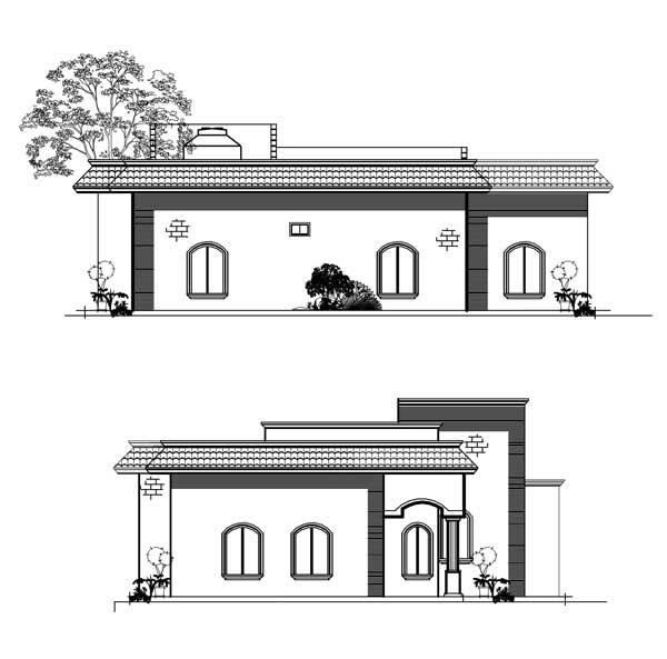 Plano de casa de un piso en autocad for Casas en 2d