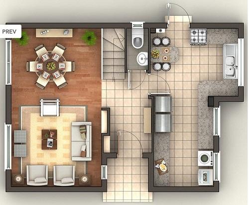 Planos de casa de 140 m2 for Planos de cocina living comedor