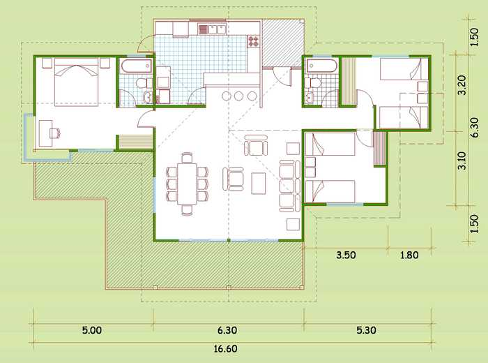 Plano de casa de madera con 3 dormitorios - Planos casa de madera ...