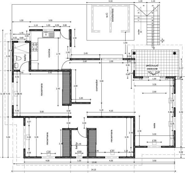 Plano de casa de un piso en autocad for Planos de cocinas autocad