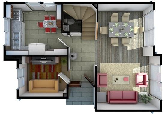 Plano de hermosa casa tradicional de 95 m2 for Casa moderna 3 habitaciones