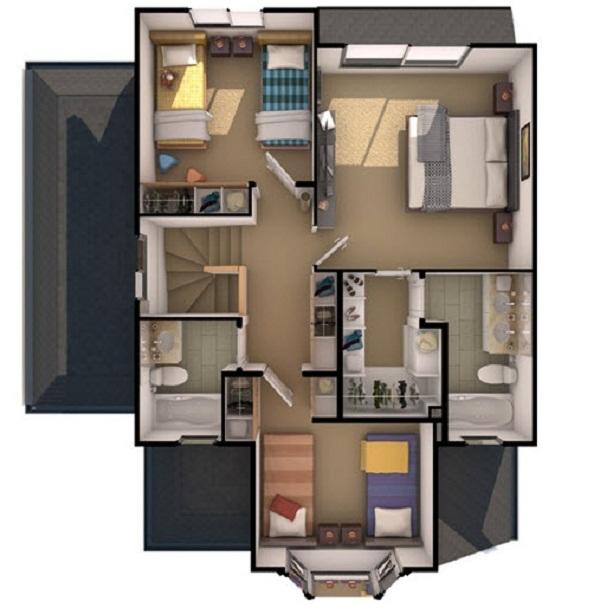 Plano apote sica casa de 140 m2 for Planos para segundo piso