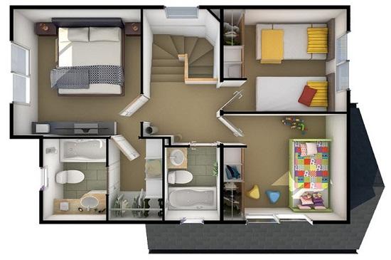 Plano de hermosa casa tradicional de 95 m2 for Planos para segundo piso