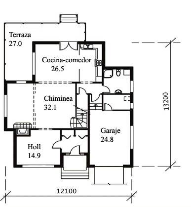 Plano de casa americana de 2 pisos y 200 m2 Planos de casas de 200m2