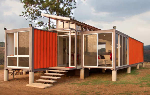 fachada casa containers