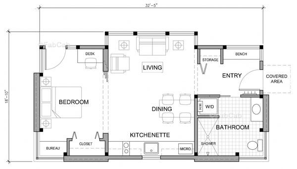 Plano de casa prefabricada de un dormitorio llamado for Disenos y planos de casas prefabricadas