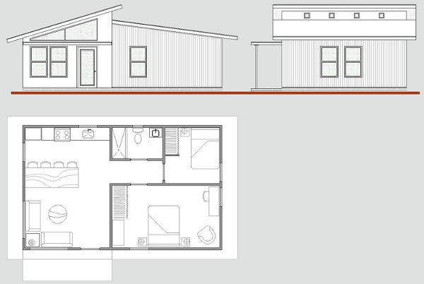 Plano gratis de casa prefabricada con 60 m2 for Disenos y planos de casas prefabricadas