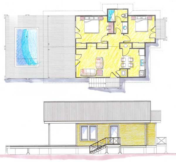Plano de casa para descanso que incluye piscina for Plano alberca