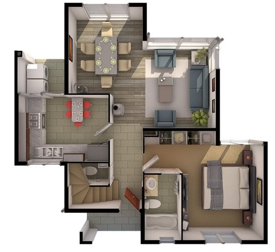 Planos de preciosa casa de dos pisos de 110 m2 for Planos de casas de un piso en 3d