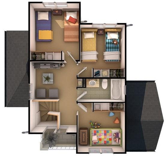 Planos de preciosa casa de dos pisos de 110 m2 for Casas segundo piso de madera