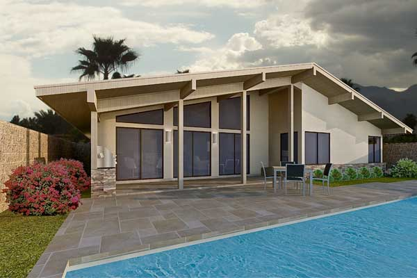 Planos de moderna y gran casa con tres dormitorios for Casa moderna 90m2