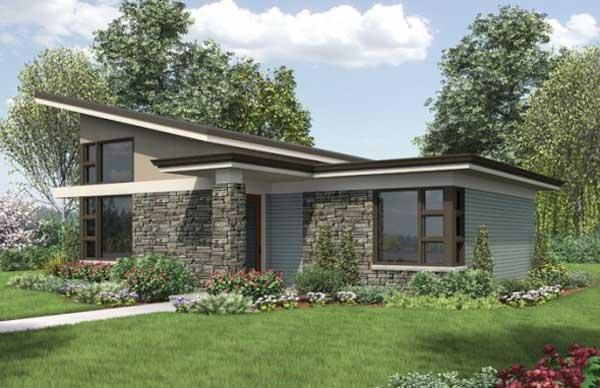 Dise o y planos de casa con moderna fachada de 83m2 for Disenos de fachadas de casas modernas
