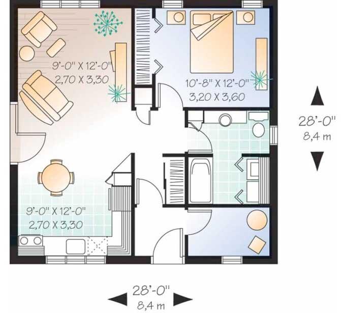 Un llamativo plano de casa con estilo americano for Planos de cocinas tipo americano