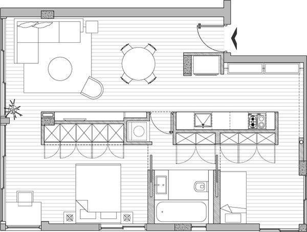 Ver el plano de un lindo departamento de 59 m2 for Departamentos minimalistas planos