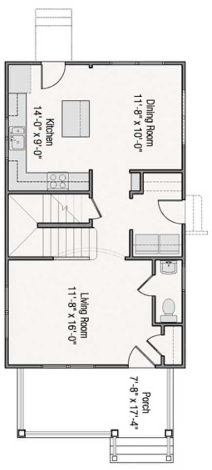 Dise o y plano de casa para sitio angosto de 6 metros de ancho for Diseno de casas angostas