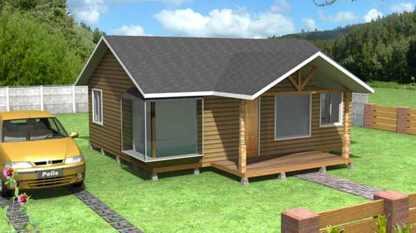 Plano de casa de 52 m2 construida en madera de 3 dormitorios - Disenos casas de madera ...