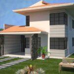 Plano de casa Moderna, 133M2, 3 Dormitorios y 2 Pisos.