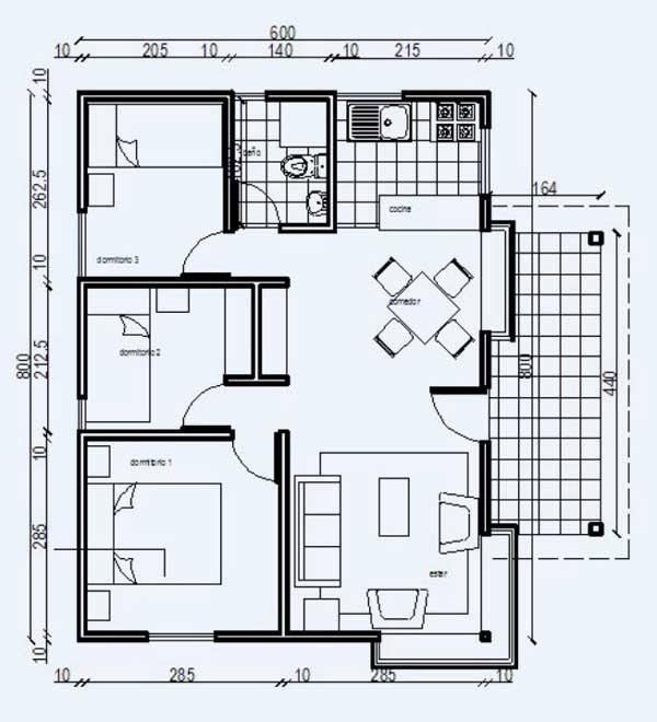 Plano de casa de 52 m2 construida en madera de 3 dormitorios for Ver planos de casas pequenas