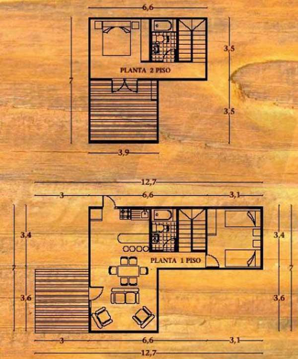 Plano de caba a de 2 pisos 2 dormitorios y 95m2 for Planos de construccion de casas pequenas