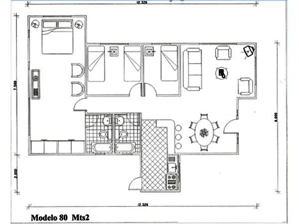 Planos de casa con 3 dormitorios y 80m2 for Planos planos de casas