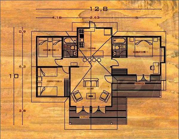 Plano de casa de madera de 1 piso 100m2 y 3 dormitorios for Planos de madera